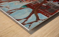 Learning to Skate at Outremont Park. Wood print