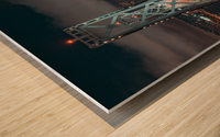 San Francisco Skyline at Night With The Bay Bridge Wood print