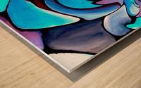 Art Deco_Green _Pattern_Aqua_Black Wood print