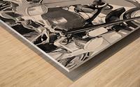 Lambretta Scooter Black and White Wood print
