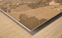 Sepia vintage map of Ibiza Spain Wood print