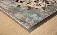 Silver Gray Seashell On Ocean Shore Waves And Rocks VI Wood print