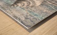 Silver Gray Seashell On Ocean Shore Waves And Rocks VII Wood print