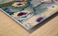 Blue Floral Impression sur bois