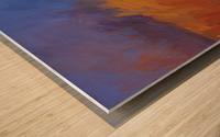 Orange and Blue Landscape Wood print