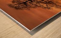 Tree Against A Sunset Sky, Nottinghamshire, England Wood print
