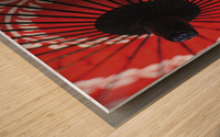 Japanese red umbrella; Kyoto, Japan Wood print