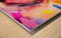 pink purple yellow brown painting texture abstract background Wood print