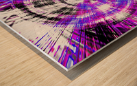 geometric pink blue purple and black circle plaid pattern with white background Wood print