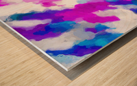 psychedelic painting texture abstract in pink purple blue yellow and white Wood print