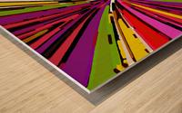 psychedelic geometric graffiti line pattern in pink purple yellow green red Wood print