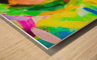 psychedelic splash painting texture abstract in green yellow pink blue Wood print