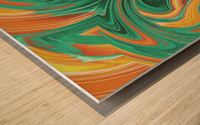 psychedelic graffiti wave pattern painting abstract in green brown yellow Wood print