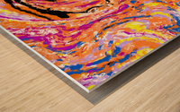 splash painting abstract in pink orange yellow blue and black Wood print