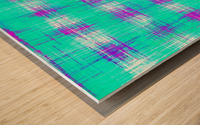 plaid pattern graffiti painting abstract in blue green and pink Wood print