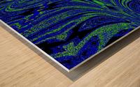 Blue Butterfly in Green Wood print