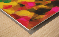 psychedelic geometric polygon shape pattern abstract in pink yellow green Wood print
