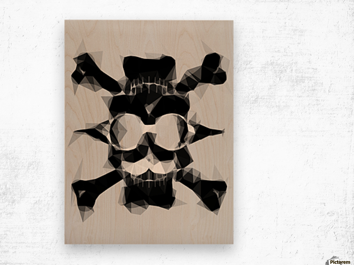 psychedelic skull art geometric triangle pattern abstract in black and white Wood print