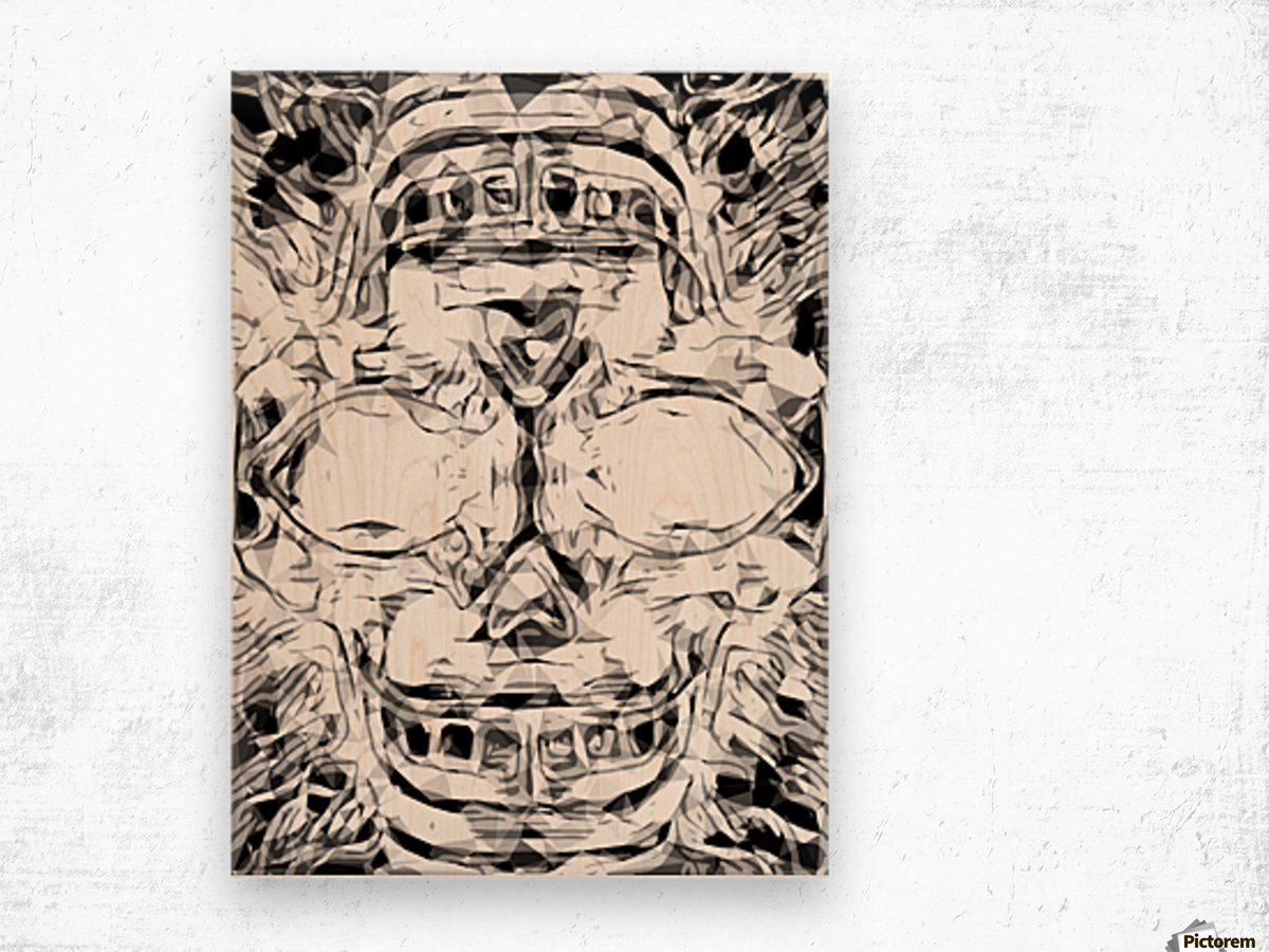psychedelic skull art geometric triangle abstract pattern in black and white Wood print