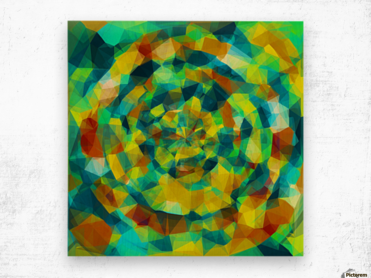 psychedelic geometric polygon pattern abstract in blue yellow green brown Wood print