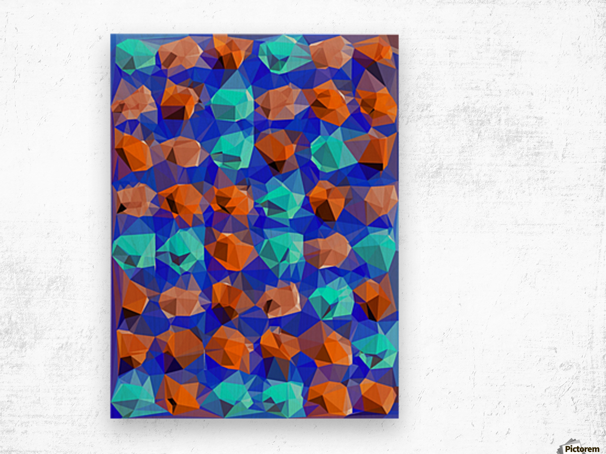 geometric polygon abstract pattern in blue and brown Wood print