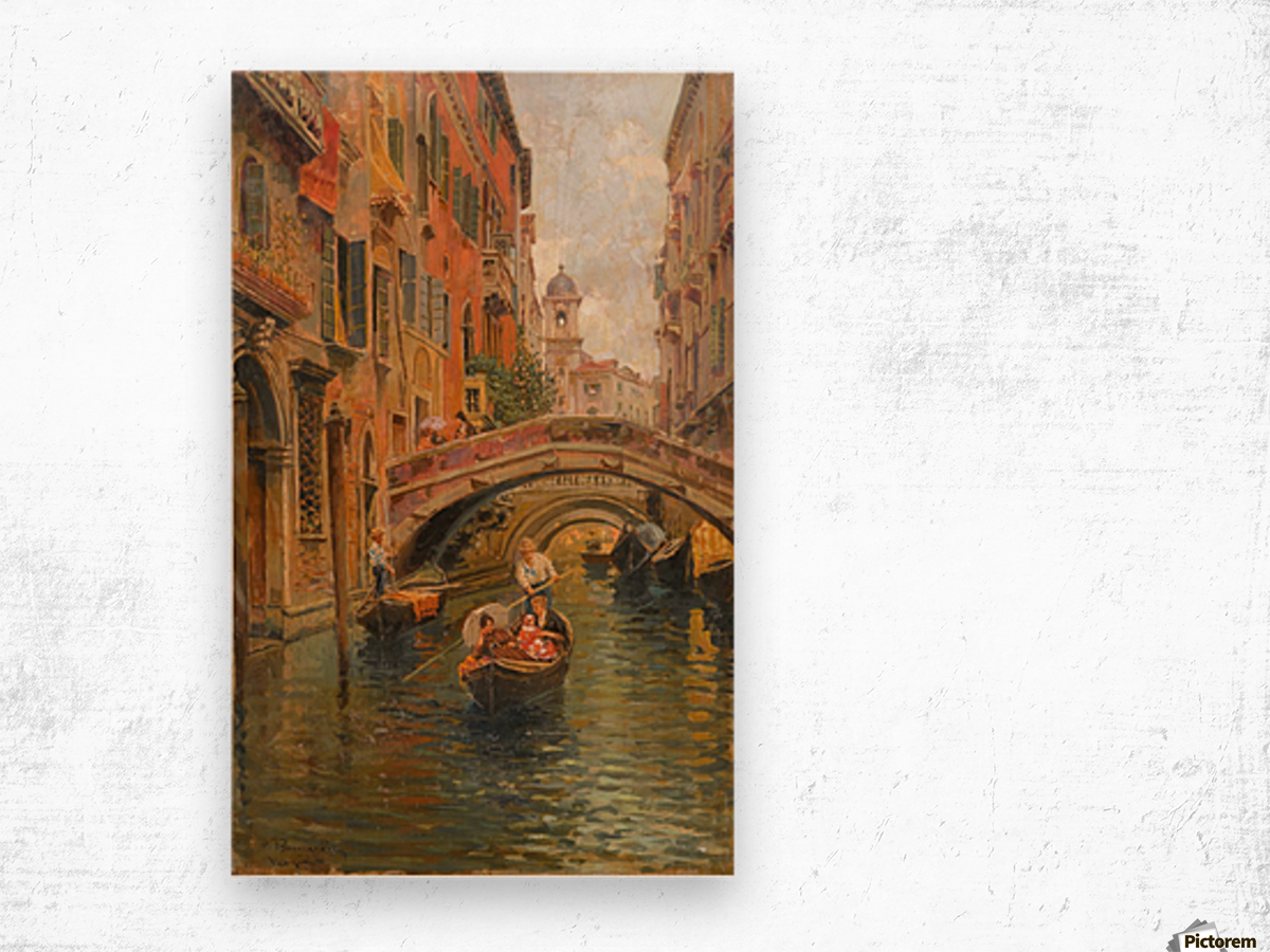 A walk with the gondola along a small canal in Venice Impression sur bois
