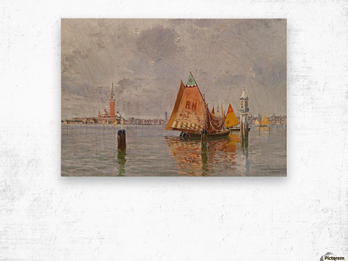 Fishing boats in Venetian lagoon Wood print