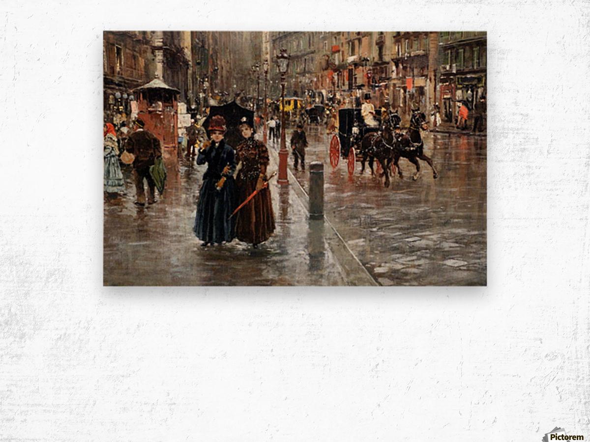 Naples via Toledo, with rain drops Impression sur bois