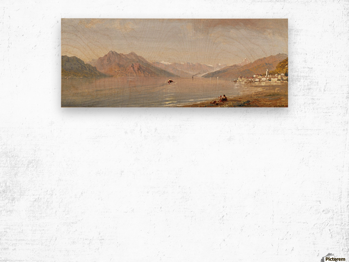 Lake view with mountains in the back Wood print