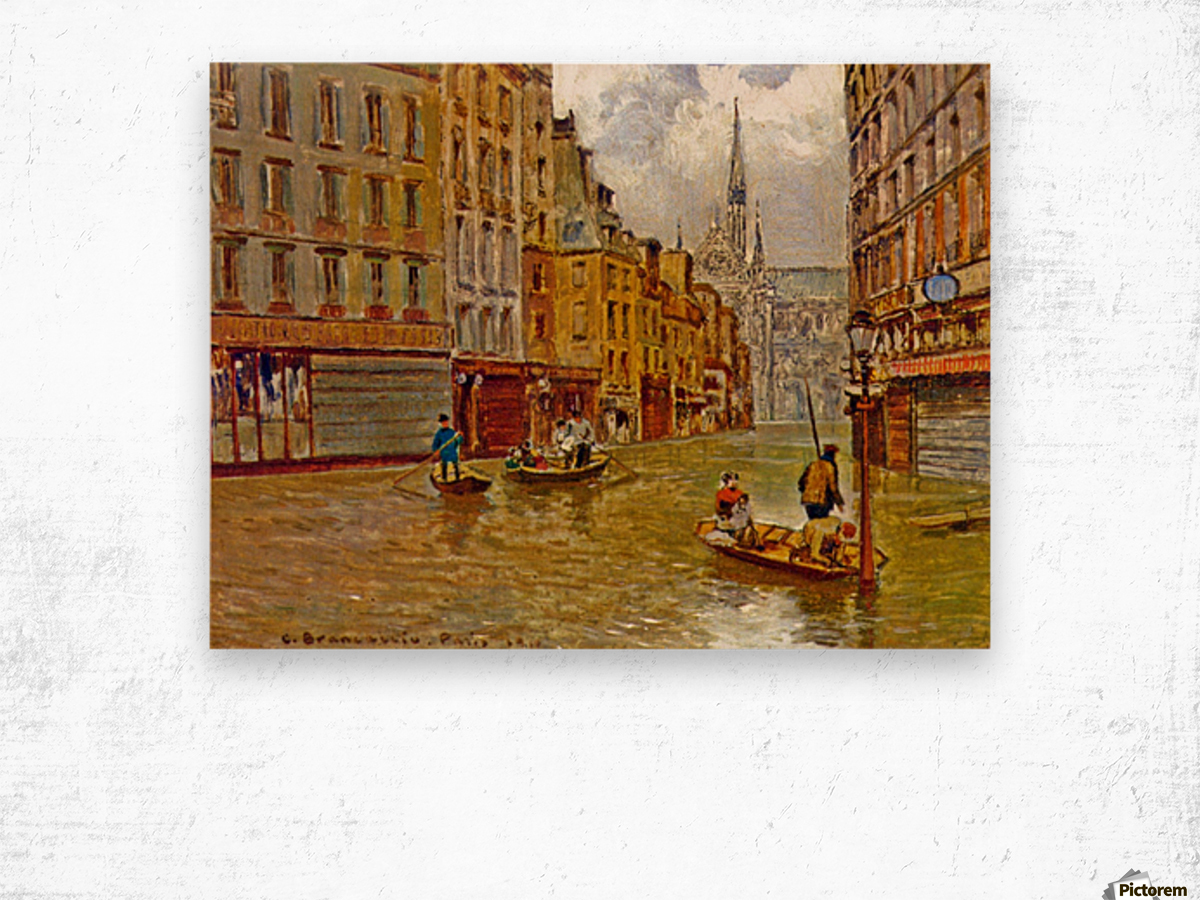 Street in Paris during Flood of 1910 Impression sur bois