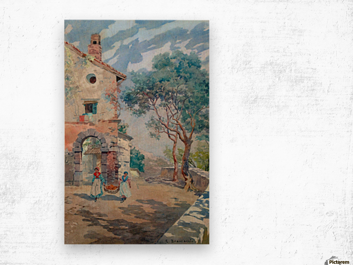 Two girls carrying fruits to their house Impression sur bois