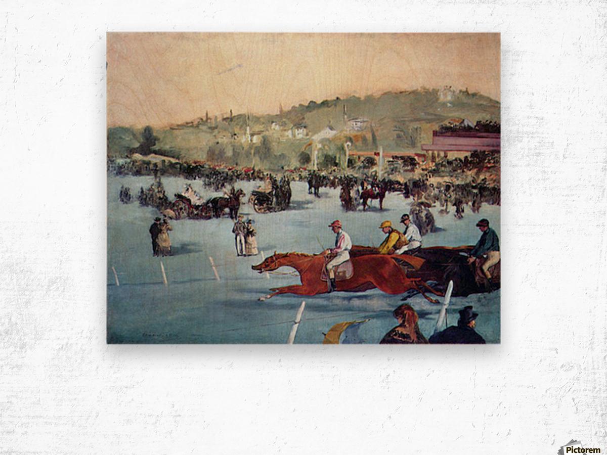 Races at the Bois de Boulogne by Manet Wood print