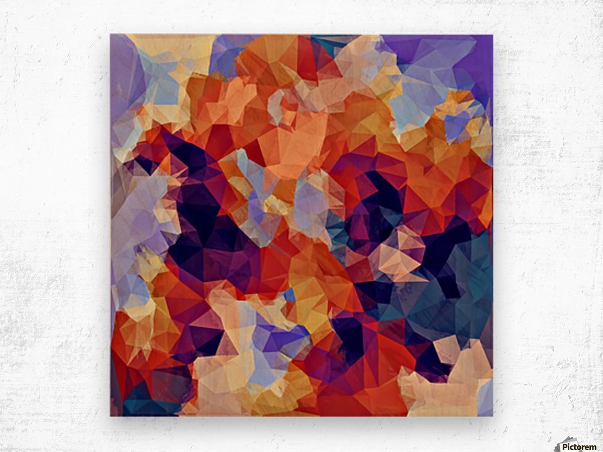 psychedelic geometric polygon pattern abstract in orange brown blue purple Wood print
