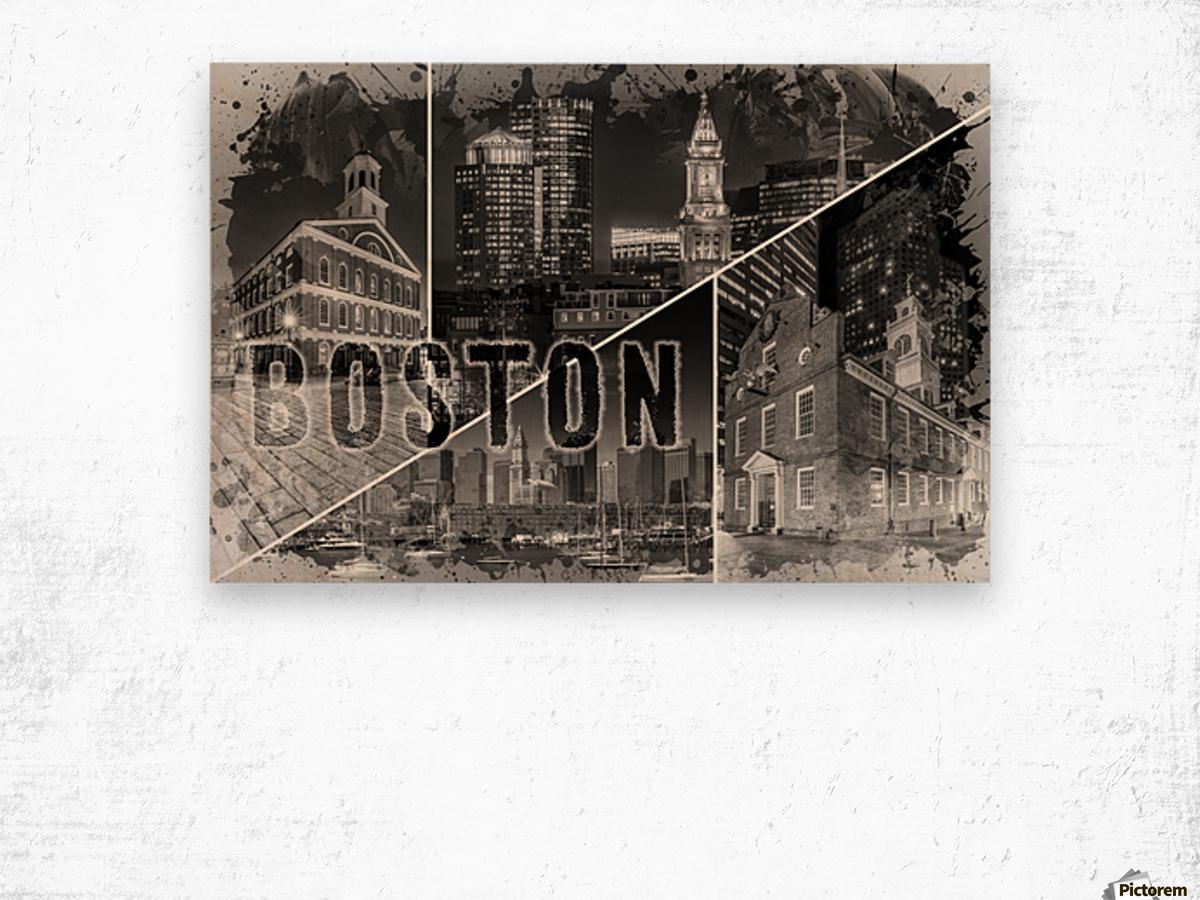 BOSTON Urban Collage No. 1 Wood print