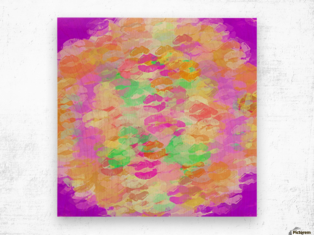sexy kiss lipstick abstract pattern in pink orange yellow green Wood print