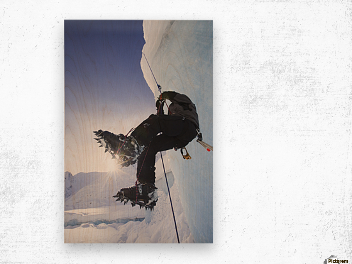 A Man Climbs A Rope Anchored On The Top Of Shakes Glacier, Stikine-Leconte Wilderness, Tongass National Forest, Southeast Alaska Wood print