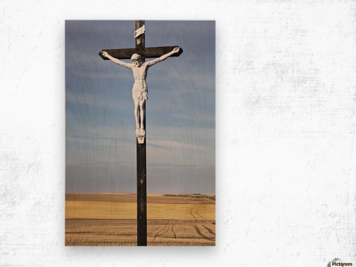 Crucifix and a farm field in the background;Saskatchewan canada Wood print