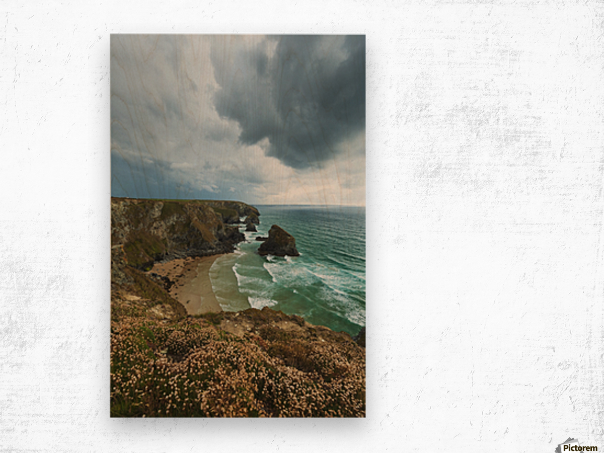 Bedruthan Steps; Cornwall, England Wood print