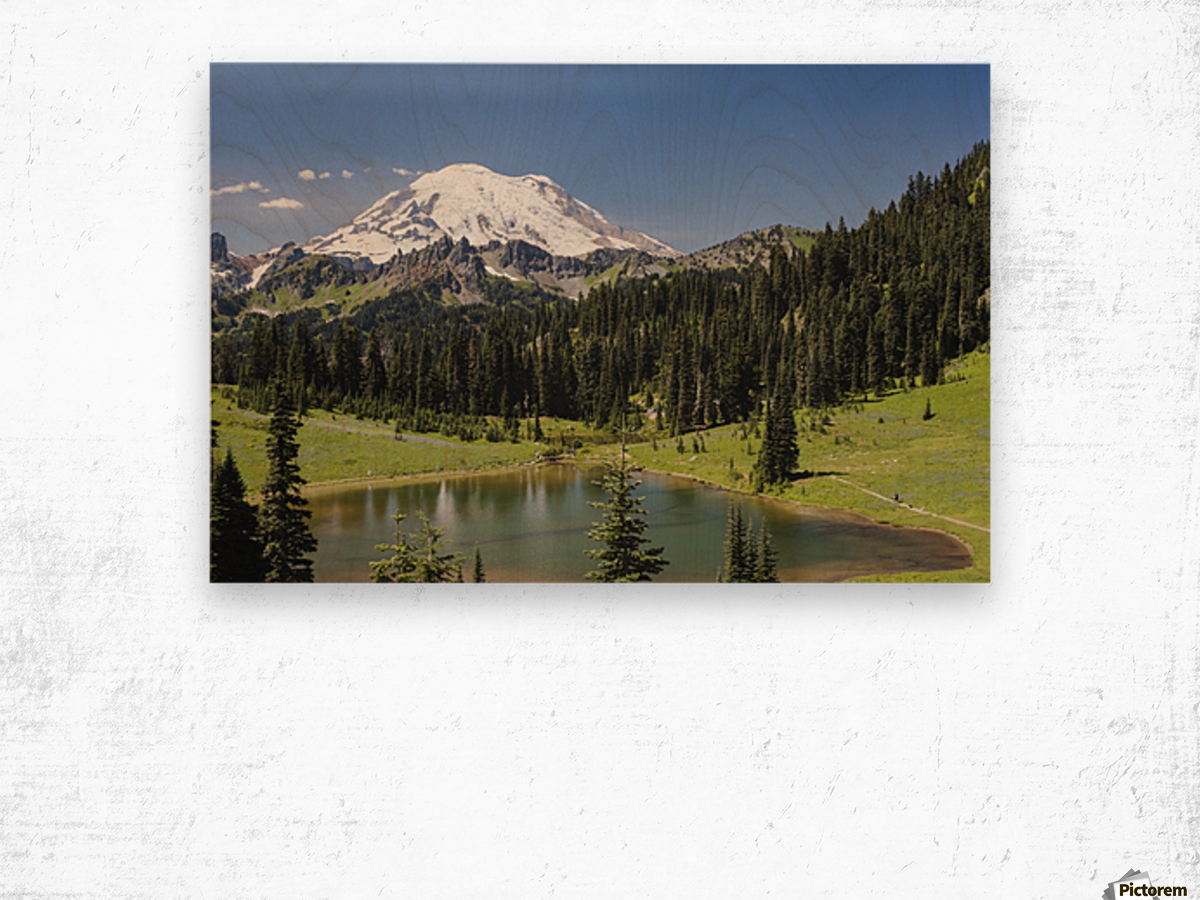 A view of Mount Rainier above Tipsoo Lake, near the top of Chinook Pass on Highway 410 in the Cascade Mountains; Washington, United States of America Wood print