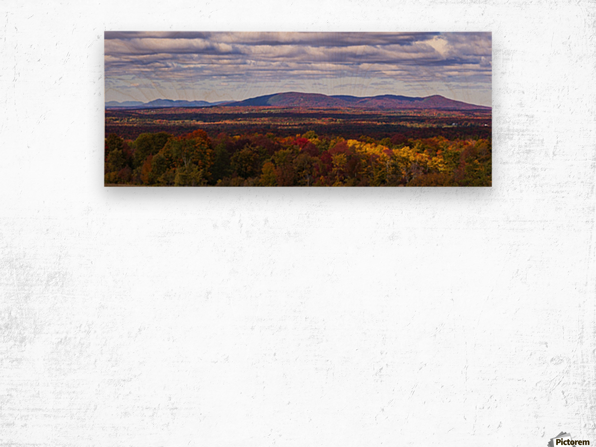 Mountain range in autumn colours with autumn coloured forest in the foreground; West Bolton, Quebec, Canada Wood print