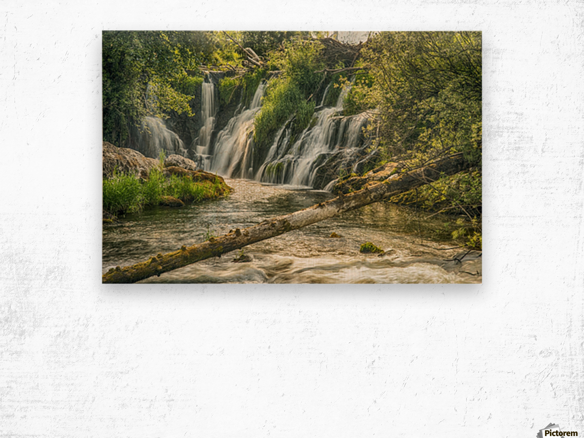 The Deschutes River Falls at the base of the old Olympia Brewery, an HDR image of only a portion of the falls; Tumwater, Washington, United States of America Wood print
