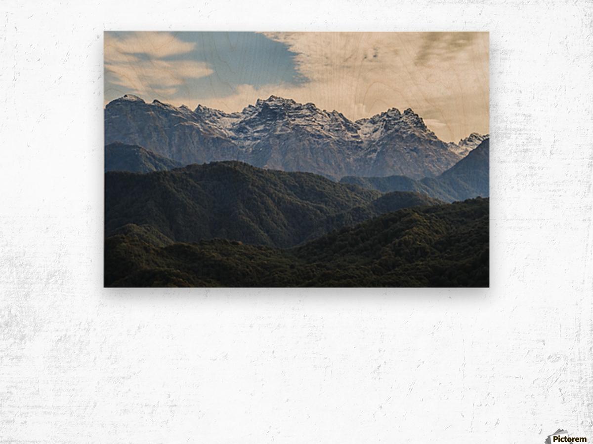 Panoramic view of the Greater Caucasus Mountains, as seen from the road between Jvari and Mestia, Zemo Svaneti National Park; Samegrelo-Zemo Svaneti, Georgia Wood print