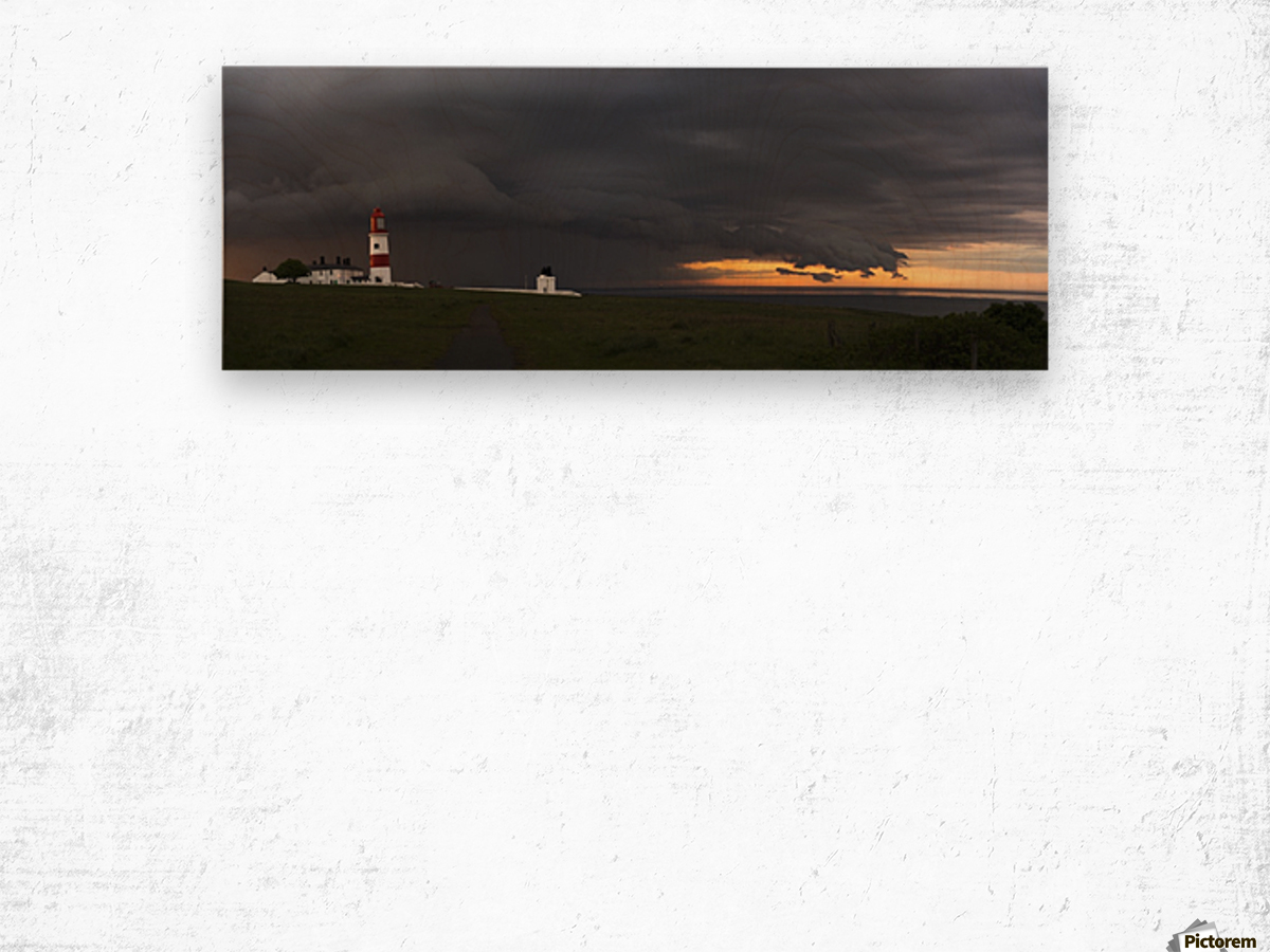 Souter Lighthouse under ominous storm clouds; South Shields, Tyne and Wear, England Wood print