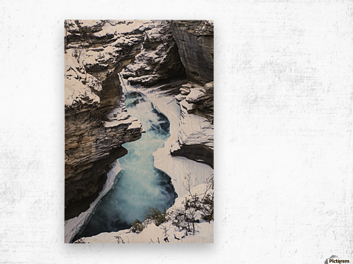 Athabasca Falls in winter, Jasper National Park; Alberta, Canada Wood print