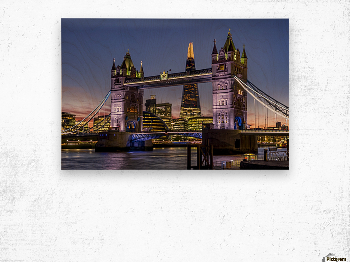 Shard with Tower Bridge at sunset; London, England Wood print