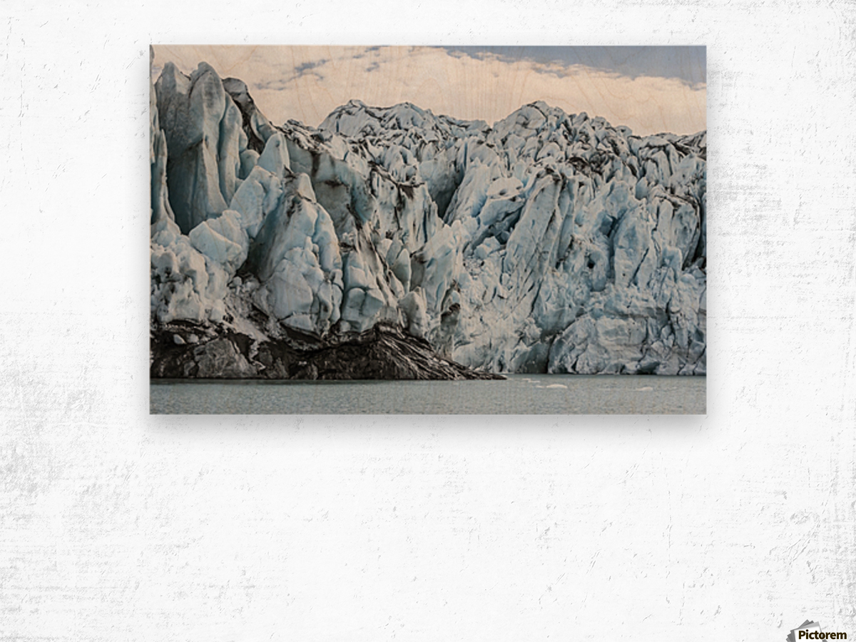 Front face of Colony Glacier, South-central Alaska; Alaska, United States of America Wood print