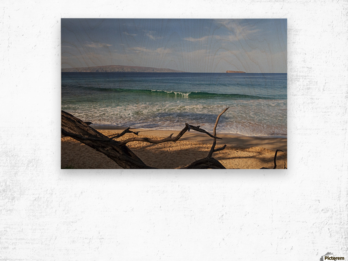 View of Kahoolawe and Molokini Islands from Little Beach at Makena Beach State Park; Maui, Hawaii, United States of America Wood print