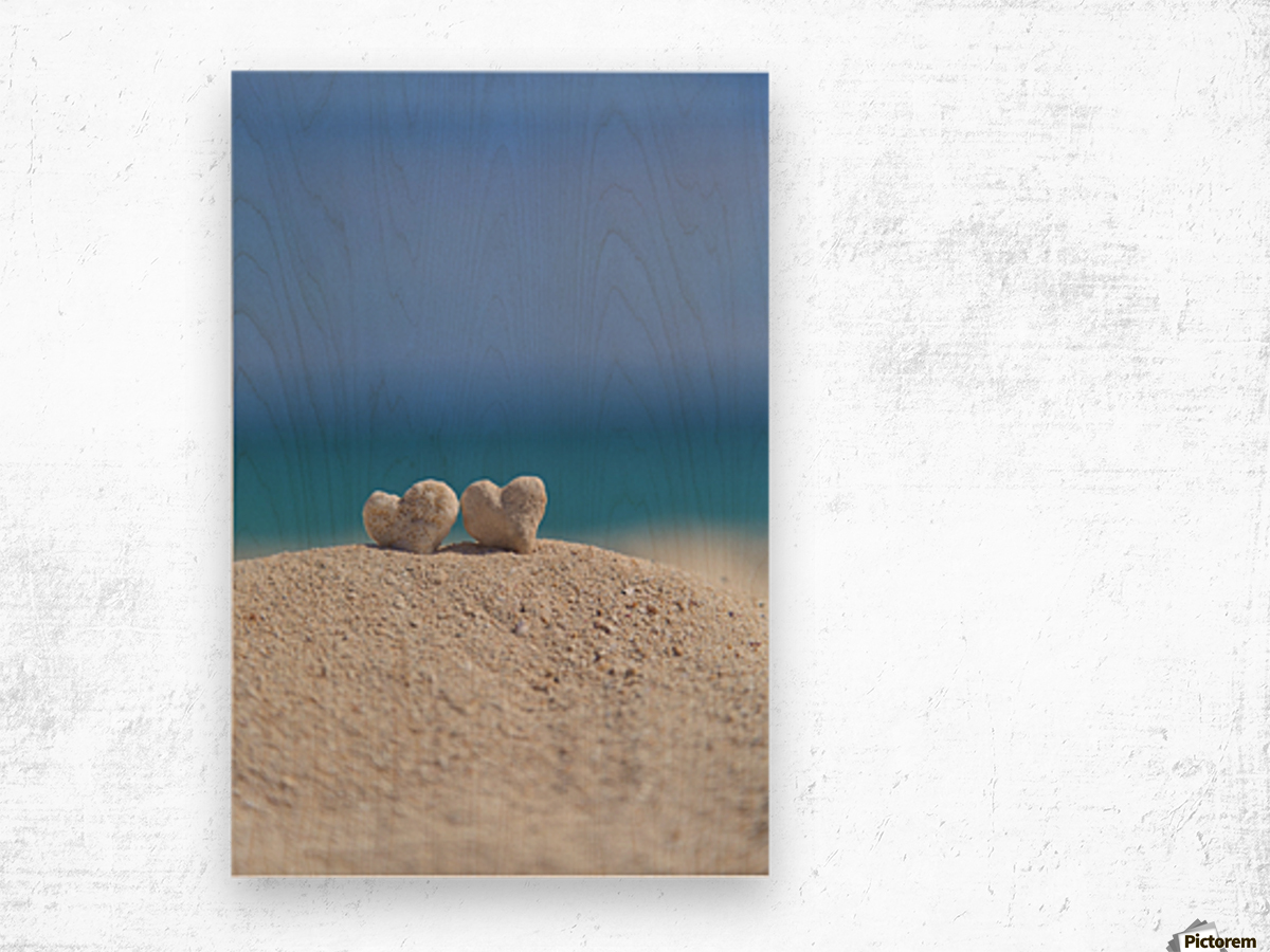 Two white heart shaped coral rocks placed together on sand at the beach; Honolulu, Oahu, Hawaii, United States of America Wood print