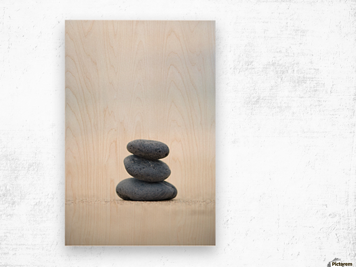 Stack Of Stones On Sand, Selective Focus. Wood print