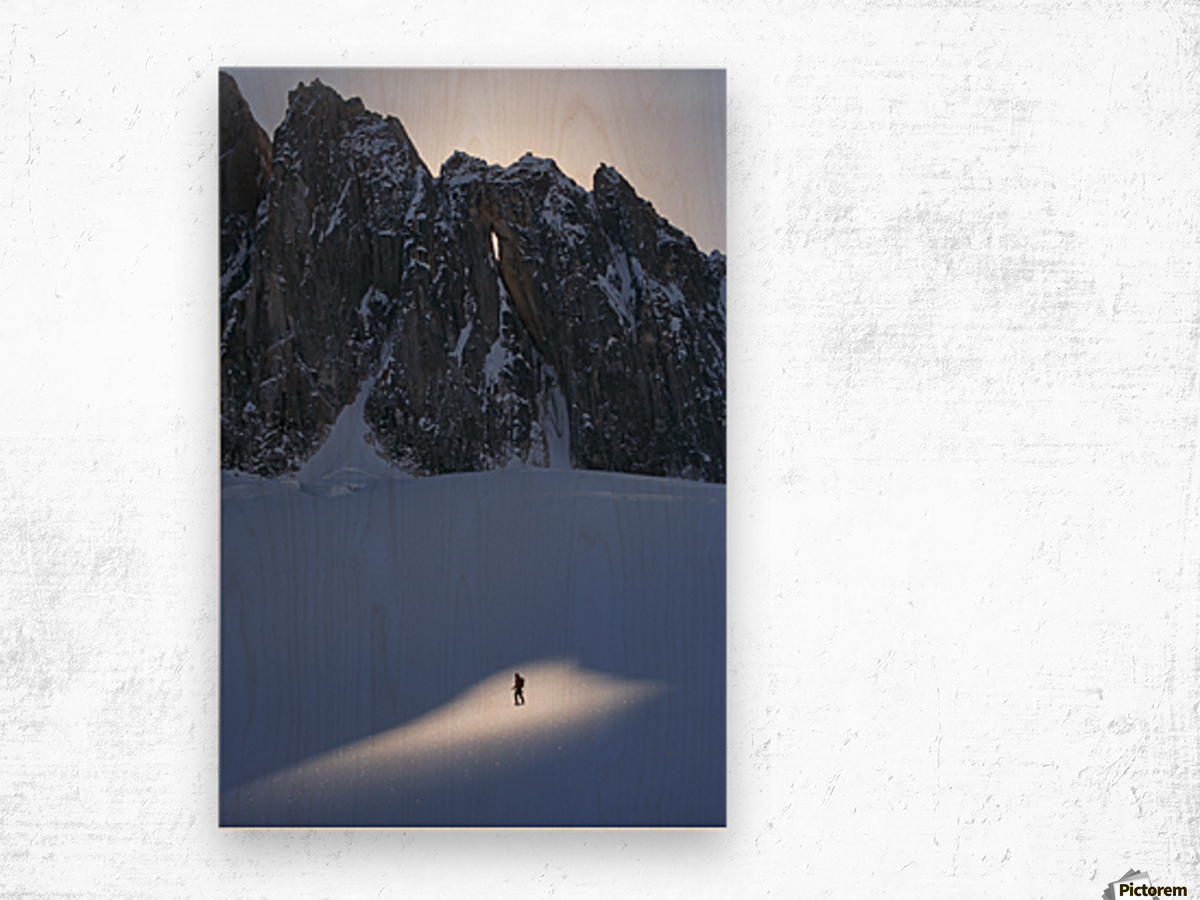 Mountaineer Pauses In Sunspot On Glacier To View Scenery, Kichatna Mtns, Denali National Park, Ak. Wood print